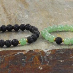 Shop Aventurine Jewelry! 8mm Green Aventurine & Volcanic Lava, Yoga Wrist Mala Beads, Healing Crystals, Good Luck-Opening the Heart Chakra – Abundance – Prosperity | Natural genuine Aventurine jewelry. Buy crystal jewelry, handmade handcrafted artisan jewelry for women.  Unique handmade gift ideas. #jewelry #beadedjewelry #beadedjewelry #gift #shopping #handmadejewelry #fashion #style #product #jewelry #affiliate #ad