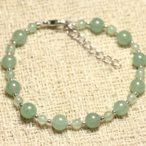 Shop Aventurine Bracelets! Bracelet 925 sterling silver and stone – green Aventurine 4 and 6mm | Natural genuine Aventurine bracelets. Buy crystal jewelry, handmade handcrafted artisan jewelry for women.  Unique handmade gift ideas. #jewelry #beadedbracelets #beadedjewelry #gift #shopping #handmadejewelry #fashion #style #product #bracelets #affiliate #ad