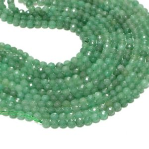"""Shop Aventurine Faceted Beads! Green Aventurine Faceted Round Beads,faceted beads,round loose beads,Gemstone Beads,green beads,AA Quality – 16"""" Full Strand 