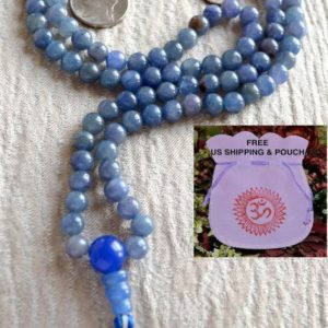 Natural Blue Aventurine Mala Necklace, 108 Mala Beads, Mala Necklace, Mala, Meditation Beads, Mala Beads, Mala Prayer Beads, Knotted | Natural genuine Gemstone necklaces. Buy crystal jewelry, handmade handcrafted artisan jewelry for women.  Unique handmade gift ideas. #jewelry #beadednecklaces #beadedjewelry #gift #shopping #handmadejewelry #fashion #style #product #necklaces #affiliate #ad