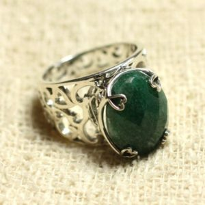 Shop Aventurine Rings! n111 – 925 sterling silver ring and stone – Aventurine oval faceted 16x12mm | Natural genuine Aventurine rings, simple unique handcrafted gemstone rings. #rings #jewelry #shopping #gift #handmade #fashion #style #affiliate #ad