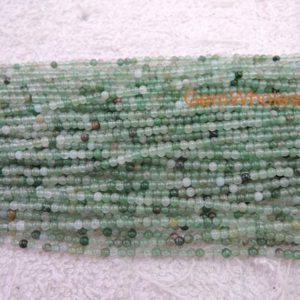 "Shop Aventurine Beads! 15.5"" Natural green aventurine 2mm round beads, Green gemstone, semi-precious stone, small green color DIY beads, gemstone wholesaler 