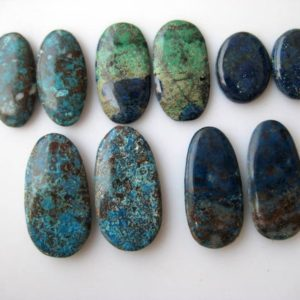 Shop Azurite Cabochons! 4 Matched Pairs 14-24mm Natural Azurite Malachite Flat Back Smooth Oval/Pear/Rectangle/Mixed Shaped Loose Cabochons GDS1048/2 | Natural genuine stones & crystals in various shapes & sizes. Buy raw cut, tumbled, or polished gemstones for making jewelry or crystal healing energy vibration raising reiki stones. #crystals #gemstones #crystalhealing #crystalsandgemstones #energyhealing #affiliate #ad