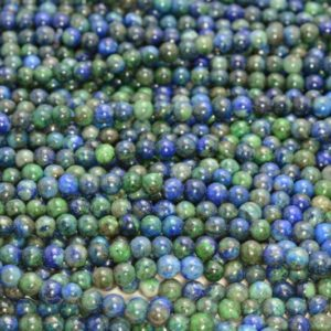 6mm Azurite Gemstone Blue Green Round Loose Beads 15.5 inch Full Strand (90112351-131) | Natural genuine beads Array beads for beading and jewelry making.  #jewelry #beads #beadedjewelry #diyjewelry #jewelrymaking #beadstore #beading #affiliate #ad