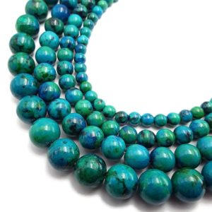 "Shop Azurite Round Beads! Azurite Smooth Round Beads 4mm 6mm 8mm 10mm 12mm 15.5"" per Strand 
