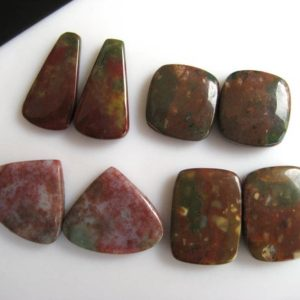 Shop Bloodstone Cabochons! 4 Matched Pairs 17-25mm Natural Bloodstone Jasper Smooth Flat Back Oval/Pear/Mixed Shape Loose Cabochons GDS1048/4 | Natural genuine stones & crystals in various shapes & sizes. Buy raw cut, tumbled, or polished gemstones for making jewelry or crystal healing energy vibration raising reiki stones. #crystals #gemstones #crystalhealing #crystalsandgemstones #energyhealing #affiliate #ad