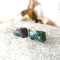 Raw Stone Earrings, Bloodstone, Healing Crystal Earrings, Gift For Girlfriend | Natural genuine Gemstone jewelry. Buy crystal jewelry, handmade handcrafted artisan jewelry for women.  Unique handmade gift ideas. #jewelry #beadedjewelry #beadedjewelry #gift #shopping #handmadejewelry #fashion #style #product #jewelry #affiliate #ad