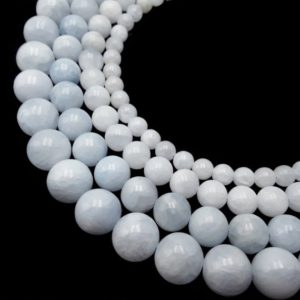 """Shop Calcite Beads! Natural Blue Calcite Smooth Round Beads 6mm 8mm 10mm 12mm 15.5"""" Strand 