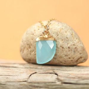 Shop Blue Chalcedony Necklaces! Blue Chalcedony Necklace, Crystal Necklace, Gemstone Necklace, Boho Necklace, Tusk Necklace, Gift For Her, 14k Gold Filled Necklace | Natural genuine Blue Chalcedony necklaces. Buy crystal jewelry, handmade handcrafted artisan jewelry for women.  Unique handmade gift ideas. #jewelry #beadednecklaces #beadedjewelry #gift #shopping #handmadejewelry #fashion #style #product #necklaces #affiliate #ad