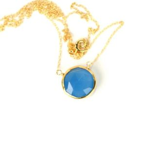 Shop Blue Chalcedony Necklaces! Chalcedony necklace – crystal necklace – blue chalcedony necklace – gemstone necklace – a gold lined chalcedony on a 14k gold filled chain | Natural genuine Blue Chalcedony necklaces. Buy crystal jewelry, handmade handcrafted artisan jewelry for women.  Unique handmade gift ideas. #jewelry #beadednecklaces #beadedjewelry #gift #shopping #handmadejewelry #fashion #style #product #necklaces #affiliate #ad