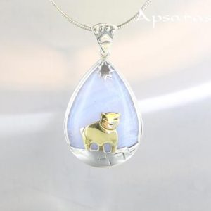 Shop Blue Lace Agate Pendants! Blue lace agate pendant, sterling silver 925, bear design pendant, blue stone, quality made, one of a kind, handmade, animal design jewel | Natural genuine Blue Lace Agate pendants. Buy crystal jewelry, handmade handcrafted artisan jewelry for women.  Unique handmade gift ideas. #jewelry #beadedpendants #beadedjewelry #gift #shopping #handmadejewelry #fashion #style #product #pendants #affiliate #ad