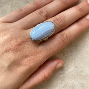 Shop Blue Lace Agate Rings! Natural Blue Lace Agate Handmade Sterling Silver Ring / / Blue Lace Oval Agate Ring / / Blue Lace Agate / / Agate | Natural genuine Blue Lace Agate rings, simple unique handcrafted gemstone rings. #rings #jewelry #shopping #gift #handmade #fashion #style #affiliate #ad