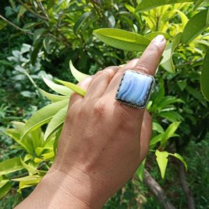 Shop Blue Lace Agate Rings! Natural Blue Lace Agate Ring, lace Agate Ring Blue Gemstone Ring, square Shape Ring, agate Ring, designer Statement Rings, anniversary Gift Her | Natural genuine Blue Lace Agate rings, simple unique handcrafted gemstone rings. #rings #jewelry #shopping #gift #handmade #fashion #style #affiliate #ad