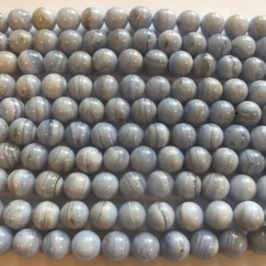 Shop Blue Lace Agate Beads! Natural blue lace agate 10mm 12mm 14mm Round Gemstone Beads—15.5"