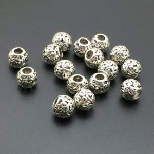 Shop Beads With Large Holes! Bulk 50pcs 10mm Antique Silver Round Beads,Tibetan beads , Large Hole Beads,beading, Findings | Shop jewelry making and beading supplies, tools & findings for DIY jewelry making and crafts. #jewelrymaking #diyjewelry #jewelrycrafts #jewelrysupplies #beading #affiliate #ad
