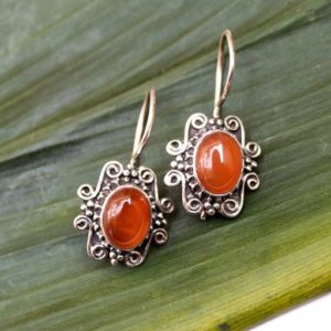 Carnelian Earrings, Natural Carnelian Sterling Silver Earrings, Virgo, Gemstone Earrings, Dangle, Orange Stone Earrings, Boho, Gift for her | Natural genuine Carnelian earrings. Buy crystal jewelry, handmade handcrafted artisan jewelry for women.  Unique handmade gift ideas. #jewelry #beadedearrings #beadedjewelry #gift #shopping #handmadejewelry #fashion #style #product #earrings #affiliate #ad