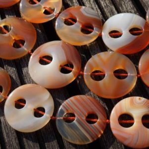 Shop Carnelian Necklaces! Carnelian large round button two holes beads 32-38mm (ETB00278) Unique jewelry/Vintage jewelry/Gemstone necklace   Natural genuine Carnelian necklaces. Buy crystal jewelry, handmade handcrafted artisan jewelry for women.  Unique handmade gift ideas. #jewelry #beadednecklaces #beadedjewelry #gift #shopping #handmadejewelry #fashion #style #product #necklaces #affiliate #ad