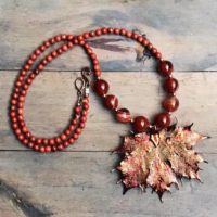 Carnelian Orange Brown Leaf Necklace. Autumn Gemstone Jewelry. Unique One Of A Kind Gift | Natural genuine Gemstone jewelry. Buy crystal jewelry, handmade handcrafted artisan jewelry for women.  Unique handmade gift ideas. #jewelry #beadedjewelry #beadedjewelry #gift #shopping #handmadejewelry #fashion #style #product #jewelry #affiliate #ad