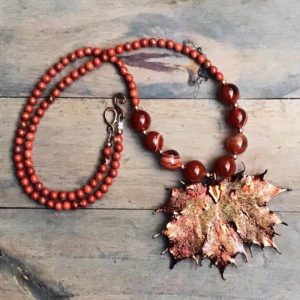 Carnelian Orange brown leaf necklace.  Autumn Gemstone jewelry.  Unique one of a kind gift | Natural genuine Gemstone necklaces. Buy crystal jewelry, handmade handcrafted artisan jewelry for women.  Unique handmade gift ideas. #jewelry #beadednecklaces #beadedjewelry #gift #shopping #handmadejewelry #fashion #style #product #necklaces #affiliate #ad