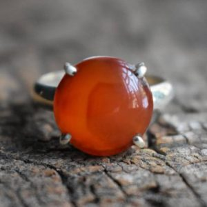 Shop Carnelian Rings! Carnelian Ring, carnelian Gemstone Ring, round Shape Ring, 925 Silver Ring, natural Carnelian Ring, gemstone Ring | Natural genuine Carnelian rings, simple unique handcrafted gemstone rings. #rings #jewelry #shopping #gift #handmade #fashion #style #affiliate #ad