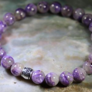Shop Charoite Bracelets! Charoite 8mm Healing Stone Bracelet or Anklet with Positive Healing Energy! | Natural genuine Charoite bracelets. Buy crystal jewelry, handmade handcrafted artisan jewelry for women.  Unique handmade gift ideas. #jewelry #beadedbracelets #beadedjewelry #gift #shopping #handmadejewelry #fashion #style #product #bracelets #affiliate #ad