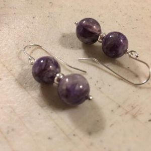 Shop Charoite Earrings! Purple Earrings – Charoite Gemstone Jewellery – Sterling Silver Jewelry | Natural genuine Charoite earrings. Buy crystal jewelry, handmade handcrafted artisan jewelry for women.  Unique handmade gift ideas. #jewelry #beadedearrings #beadedjewelry #gift #shopping #handmadejewelry #fashion #style #product #earrings #affiliate #ad