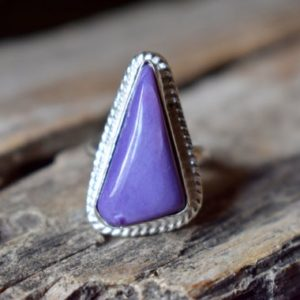 Shop Charoite Rings! Charoite gemstone ring/ Statement Ring/ 925 Sterling Silver Ring/ Gifts for her/ Birthstone Jewelry/ Handmade Ring/ Boho Rings #SC85 | Natural genuine Charoite rings, simple unique handcrafted gemstone rings. #rings #jewelry #shopping #gift #handmade #fashion #style #affiliate #ad