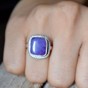 Shop Charoite Rings! Charoite gemstone ring,Statement Ring/ 925 Sterling Silver Ring/ Gifts for her/ Birthstone Jewelry/ Handmade Ring/ Boho Rings #SC81 | Natural genuine Charoite rings, simple unique handcrafted gemstone rings. #rings #jewelry #shopping #gift #handmade #fashion #style #affiliate #ad