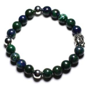 Semi precious – Chrysocolla stone and Buddha bracelet | Natural genuine Gemstone bracelets. Buy crystal jewelry, handmade handcrafted artisan jewelry for women.  Unique handmade gift ideas. #jewelry #beadedbracelets #beadedjewelry #gift #shopping #handmadejewelry #fashion #style #product #bracelets #affiliate #ad
