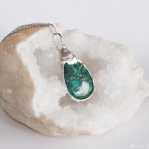 Chrysocolla Pendant, Chrysocolla necklace, silver tin Chrysocolla, wife birthday, Wife gift elegant necklace for her, green gemstone jewelry | Natural genuine Chrysocolla pendants. Buy crystal jewelry, handmade handcrafted artisan jewelry for women.  Unique handmade gift ideas. #jewelry #beadedpendants #beadedjewelry #gift #shopping #handmadejewelry #fashion #style #product #pendants #affiliate #ad