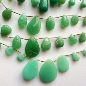 Shop Chrysoprase Bead Shapes! 6x7mm – 18.5x25mm Chrysoprase Plain Pear Beads, Chrysoprase For Necklace, Chrysophase Pear Briolettes, 7 Inch Strand, 15 Pieces | Natural genuine other-shape Chrysoprase beads for beading and jewelry making.  #jewelry #beads #beadedjewelry #diyjewelry #jewelrymaking #beadstore #beading #affiliate #ad