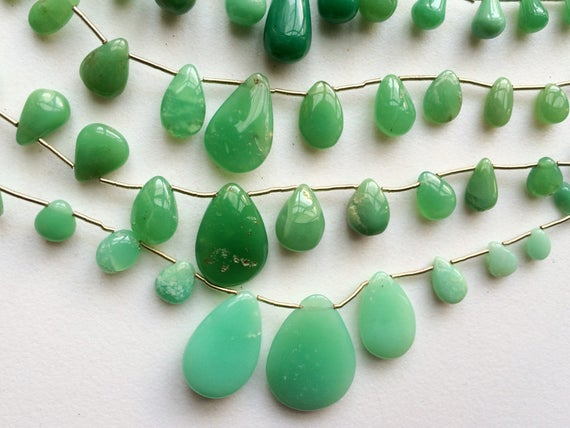6x7mm - 18.5x25mm Chrysoprase Plain Pear Beads, Chrysoprase For Necklace, Chrysophase Pear Briolettes, 7 Inch Strand, 15 Pieces
