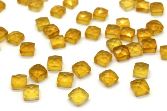 Square Citrine Faceted Cabochons,square Cabochons,square Gemstones,citrine Gemstone,gemstone Lot,loose Stones - Aa Quality - 1 Stone
