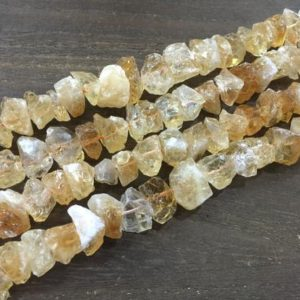 "Shop Citrine Beads! Raw Citrine Quartz Nugget beads Rough Citrine Crystal Chip beads Rough Quartz Jewelry making supplies 14-16mm 15.5"" full strand 