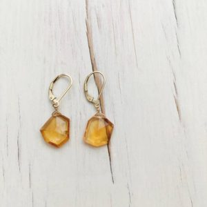 Shop Citrine Earrings! Citrine Earring Free Form Citrine Slab Earring Citrine Dangle Earrings November Birthstone Gemstone Jewelry | Natural genuine Citrine earrings. Buy crystal jewelry, handmade handcrafted artisan jewelry for women.  Unique handmade gift ideas. #jewelry #beadedearrings #beadedjewelry #gift #shopping #handmadejewelry #fashion #style #product #earrings #affiliate #ad