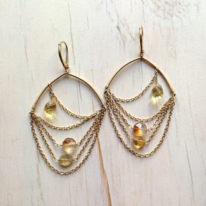 Citrine Gold Filled Drape Earring Citrine Earring Citrine Jewelry | Natural genuine Gemstone earrings. Buy crystal jewelry, handmade handcrafted artisan jewelry for women.  Unique handmade gift ideas. #jewelry #beadedearrings #beadedjewelry #gift #shopping #handmadejewelry #fashion #style #product #earrings #affiliate #ad