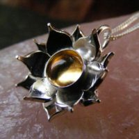 Silver Lotus Flower Citrine Pendant Necklace With Sterling Cable Chain | Natural genuine Gemstone jewelry. Buy crystal jewelry, handmade handcrafted artisan jewelry for women.  Unique handmade gift ideas. #jewelry #beadedjewelry #beadedjewelry #gift #shopping #handmadejewelry #fashion #style #product #jewelry #affiliate #ad
