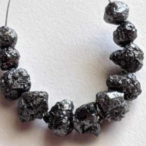 Shop Black Diamond Beads! 7-8mm Raw Black Diamond Beads, Huge Rough Black Diamond Beads, Uncut Diamond, Raw Black Diamond Necklace, Loose Black Raw Uncut Beads-PPD480 | Natural genuine beads Diamond beads for beading and jewelry making.  #jewelry #beads #beadedjewelry #diyjewelry #jewelrymaking #beadstore #beading #affiliate #ad