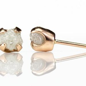 14K Rose Gold Earrings with Rough Diamonds – Natural Unfinished Raw Stones White – 6mm Gold Post Earrings | Natural genuine Array earrings. Buy crystal jewelry, handmade handcrafted artisan jewelry for women.  Unique handmade gift ideas. #jewelry #beadedearrings #beadedjewelry #gift #shopping #handmadejewelry #fashion #style #product #earrings #affiliate #ad