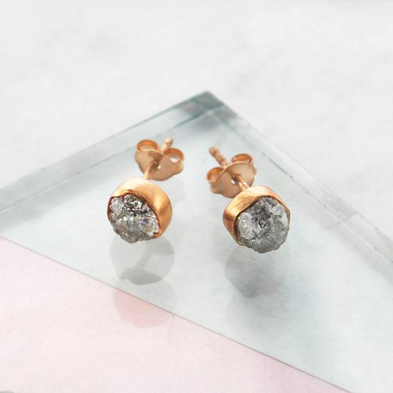 Rose Gold Diamond, Rose Gold Earrings, Raw Diamond, Rose Gold Studs, Birthday Gifts, April Birthstone, Embers Jewellery, Handmade Earrings