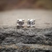 Silver Salt And Pepper Diamond Earrings, Raw Stone Diamond Studs, Grey Diamond Stud Earrings Gray Diamond Earrings April Birthstone Jewelry | Natural genuine Gemstone jewelry. Buy crystal jewelry, handmade handcrafted artisan jewelry for women.  Unique handmade gift ideas. #jewelry #beadedjewelry #beadedjewelry #gift #shopping #handmadejewelry #fashion #style #product #jewelry #affiliate #ad