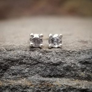 Silver Salt and Pepper Diamond Earrings, Raw Stone Diamond Studs, Grey Diamond Stud Earrings Gray Diamond Earrings April Birthstone Jewelry | Natural genuine Array earrings. Buy crystal jewelry, handmade handcrafted artisan jewelry for women.  Unique handmade gift ideas. #jewelry #beadedearrings #beadedjewelry #gift #shopping #handmadejewelry #fashion #style #product #earrings #affiliate #ad