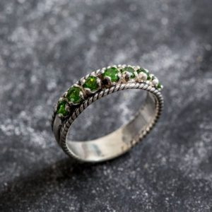 Shop Diopside Rings! Half Eternity Band, Emerald Green Ring, Chrome Diopside Band, Chrome Diopside Ring, Natural Chrome Diopside, Green Eternity Band, Silver | Natural genuine Diopside rings, simple unique handcrafted gemstone rings. #rings #jewelry #shopping #gift #handmade #fashion #style #affiliate #ad
