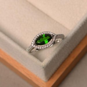 Shop Diopside Rings! Promise ring, natural diopside ring, marquise cut green gemstone, sterling silver ring, halo ring | Natural genuine Diopside rings, simple unique handcrafted gemstone rings. #rings #jewelry #shopping #gift #handmade #fashion #style #affiliate #ad