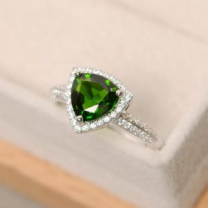 Shop Diopside Rings! Diopside ring, trillion cut diopside, promise ring, stelring silver, green gemstone, chrome diopside | Natural genuine Diopside rings, simple unique handcrafted gemstone rings. #rings #jewelry #shopping #gift #handmade #fashion #style #affiliate #ad