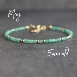 Dainty Emerald Bracelet, May Birthstone Jewelry Gifts for Women, Emerald Birthstone Bracelet, Birthday Gifts for Her | Natural genuine Emerald bracelets. Buy crystal jewelry, handmade handcrafted artisan jewelry for women.  Unique handmade gift ideas. #jewelry #beadedbracelets #beadedjewelry #gift #shopping #handmadejewelry #fashion #style #product #bracelets #affiliate #ad