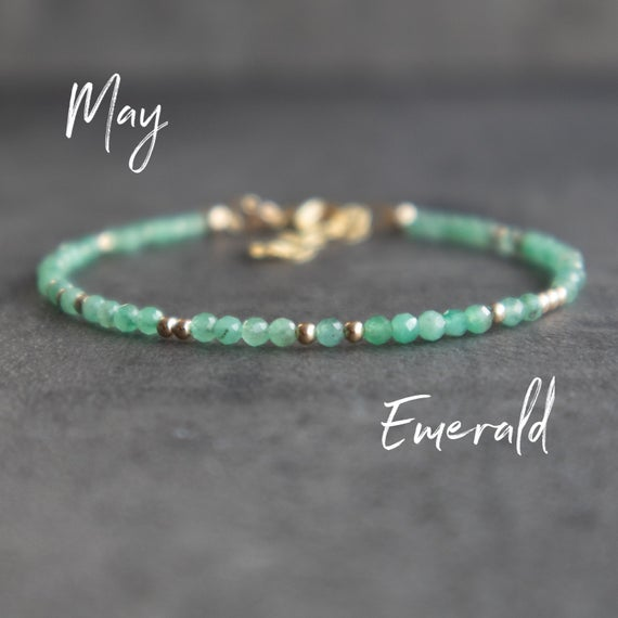 Dainty Emerald Bracelet, May Birthstone Jewelry Gifts For Women, Emerald Birthstone Bracelet, Birthday Gifts For Her