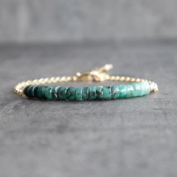 Raw Emerald Bracelet, Natural Emerald Jewelry, Gemstone Bracelet, Emerald Birthstone Bracelet, May Birthstone Gifts For Women
