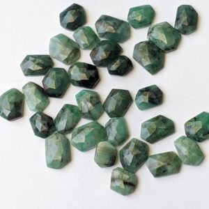 Shop Emerald Stones & Crystals! 10-14mm Emerald Rose Cut Cabochons, Natural Emerald Free Form Fancy Shape Rose Cut Flat Back Cabochons (5 Pcs To 10 Pcs Options) – PNT48 | Natural genuine stones & crystals in various shapes & sizes. Buy raw cut, tumbled, or polished gemstones for making jewelry or crystal healing energy vibration raising reiki stones. #crystals #gemstones #crystalhealing #crystalsandgemstones #energyhealing #affiliate #ad