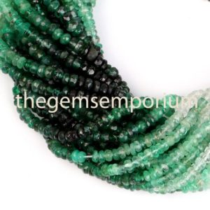 Shop Emerald Faceted Beads! Emerald Shaded Faceted Rondelle Shape Beads, Natural Emerald Shaded Faceted Beads, Emerald Shaded Rondelle Beads, emerald Shaded Natural Bead | Natural genuine faceted Emerald beads for beading and jewelry making.  #jewelry #beads #beadedjewelry #diyjewelry #jewelrymaking #beadstore #beading #affiliate #ad